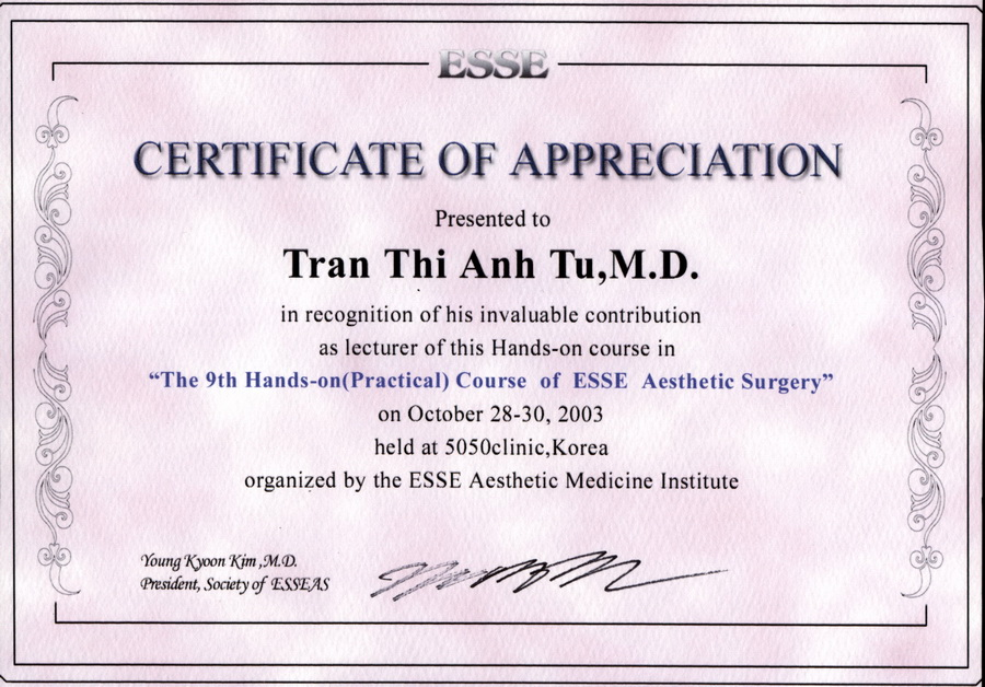 Professional certificates the 9th hands on practical course of esse aesthetic surgery korea yelopaper Choice Image